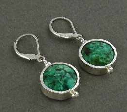 Turquoise Circle Sterling Silver Earring