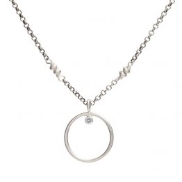 Cubic Zirconia Sterling Circle Necklace