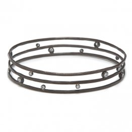 Blackened Sterling 3 Wire Bangle w/  CZ