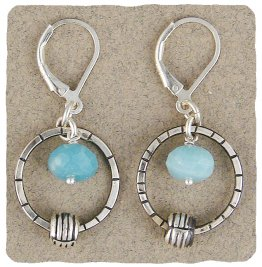 Amazonite & Etched Sterling Ring Earring