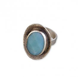 Amazonite Bezel Oval Ring