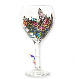 Personalization Butterflies Wine Glass Hand Painted