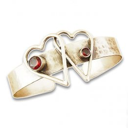 Crossed Hearts, Garnet and Sterling Silver Cuff