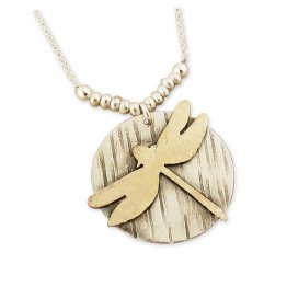Dragonfly 14kt Gold fill on Textured SS Disc Necklace