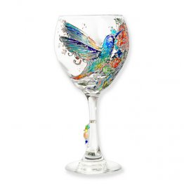 Hummingbird Personalization Wine Glass Hand Painted
