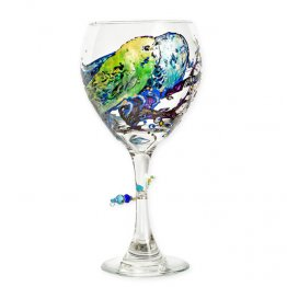 Parakeet Wine Glass Hand Painted
