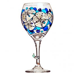 Sand Dollar Hand Painted Wine Glass