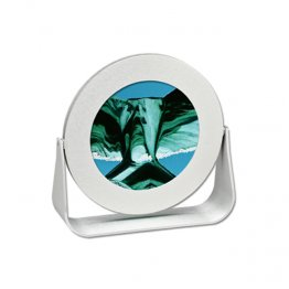 Moving Sand Art Silver Round Turquoise