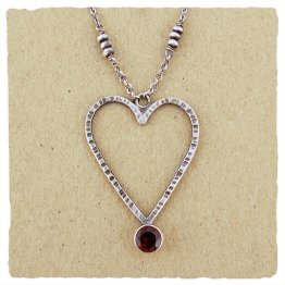 Sterling Silver Open Heart 6mm Garnet Heart Pendant Necklace