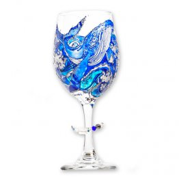 Hand Painted Whale Wine Glass