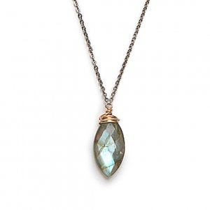 Faceted Labradorite Marquise Necklace Wrapped in 14kt Gold Fill on Black Sterling Silver Chain – 17″