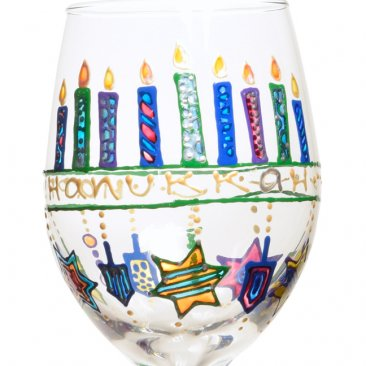 Hanukkah Dreidel Wine Glass Hand Painted