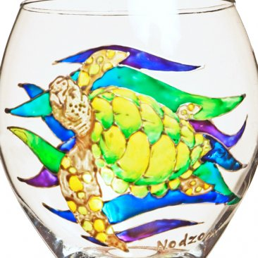 Sea Turtle Hand Painted Wine Glass