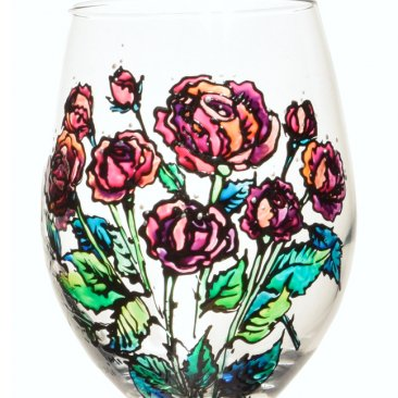 Hand Panted Red Roses Wine Glass