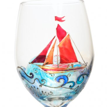Sailboat Hand Painted Wine Glass