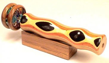 "Wooden Kaleidoscope Ebony eye w/ 2"" Wheels 5 1/2"
