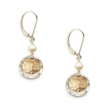 Pearl & Sterling Ring w/ Gold Disc Earring