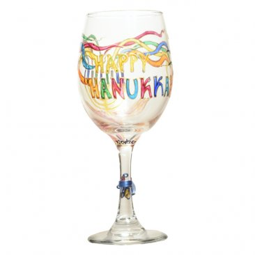 Hanukkah, Chanukah Menorah Wine Glass Hand Painted