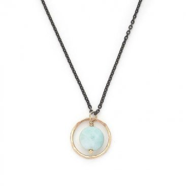 Amazonite Floating in 14kt Gold Filled Circle Necklace on Oxidized Chain