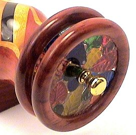 "Wood Kaleidoscope w/ Wide Stripe w/ 2"" Wheels  7 1/2"""