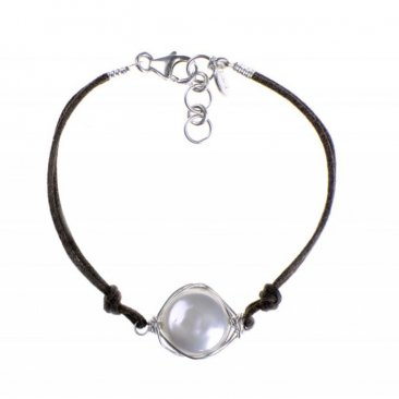 Pearl Wrapped in Sterling on Cord Bracelet