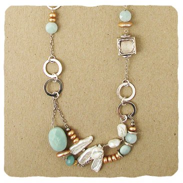 Amazonite, Pearl & Sterling Necklace