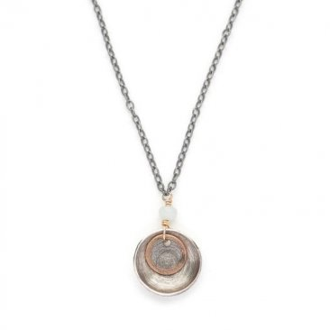 OX Sterling Disc w/ Circle & Amazonite Necklace