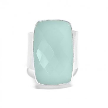Aqua Chalcedony Ring on Sterling Adjustable Band