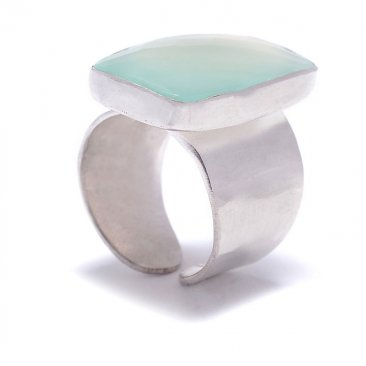 Aqua Chalcedony Ring on Sterling Adjustable Band Handmade in USA. 5 to 11