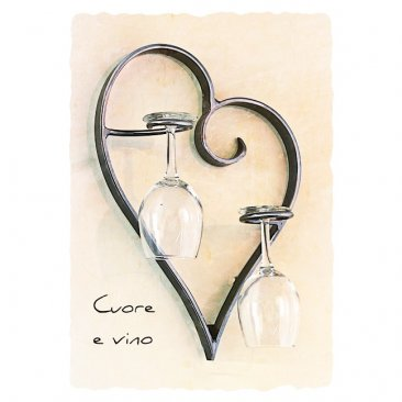 Wall Mounted Wine or Champagne Glass Rack Cuore e Vino 6 finishes
