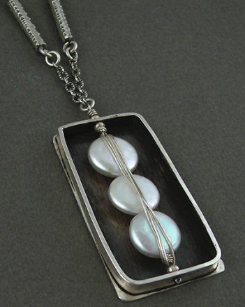 Pearls Wrapped in Oxidized Sterling Box Necklace