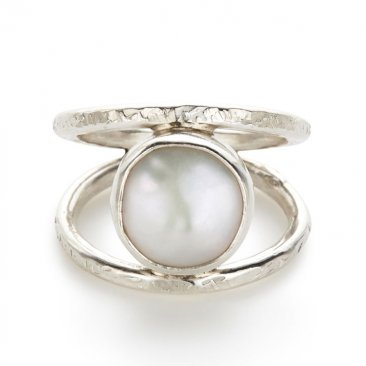 Sterling Bezel Set 8m Pearl Ring