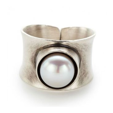 Pearl Oxidized Sterling Ring