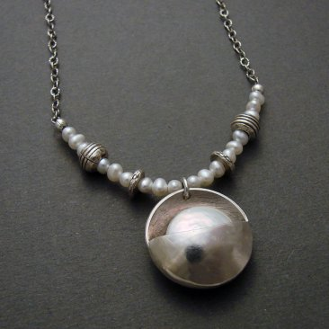 Pearl Cupped Sterling Moon Pendant