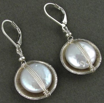 Pearl Cupped in Sterling Bowl Earrings