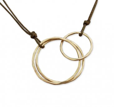 14kt Goldfill Interlocking Circles on Brown Cord Necklace