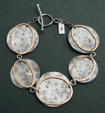 Sterling Disc w/ 14kt Goldfilled Circles Bracelet
