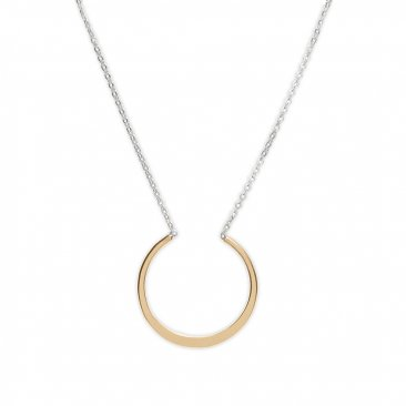 14kt Gold Filled Open Circle Necklace on Sterling Silver Chain