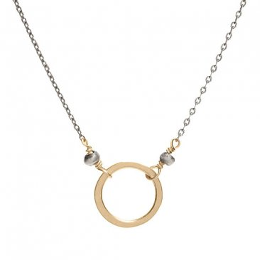 14kt GF Circle on OX Sterling Silver Chain Necklace