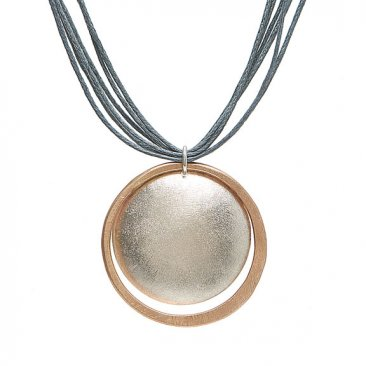Sterling Silver and 14kt Gold Fill Circle Pendant on Grey Cotton Cord Necklace