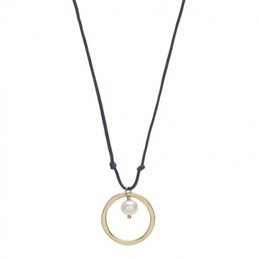 Pearl Set in 14kt GF Circle on Cord Necklace