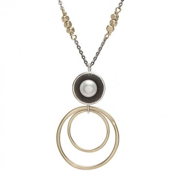 Pearl in Silver Cup w/ 14k GFRings necklace..
