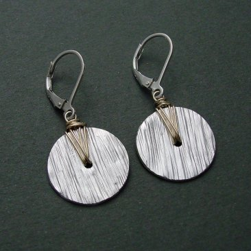 Sterling Disc & 14kt Goldfilled Wire Wrapped Earring