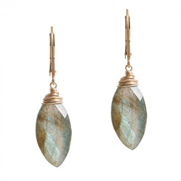 LGX111E Faceted Labradorite Marquis Wrapped in 14kt Gold Fill Earring