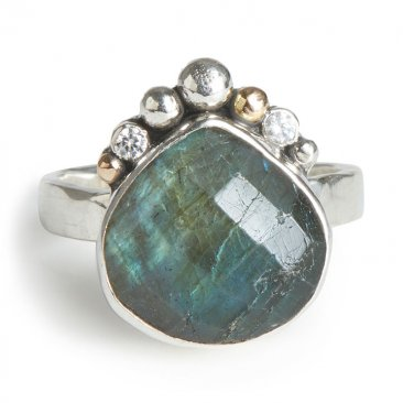 Faceted pear labradorite ring with 14kt gold and white Cubic Zirconia