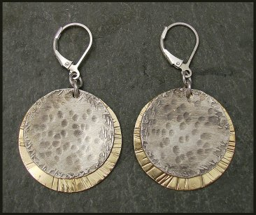 Sterling Oxidized Hammered Disc & Etched Brass  Earring