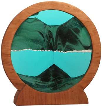 Sand Picture Round Cherry Wood Summer Turquoise Lg