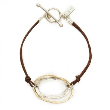 Sterling and 14kt G-fill Rings on Brown Cord Bracelet