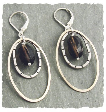 Smoky Quartz Sterling & 14 kt Goldfill Drop Earrings