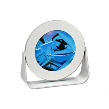 Silver Metal Round Ocean Blue Sand Pictures